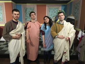 Dressing up as a Roman family, with Dr Matthew Cobb as the pater familias.