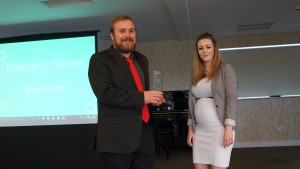Jamie receiving his awards from Bea Fallon, Lampeter SU President.
