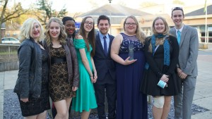 Representatives of the Musical Theatre Society with their award.