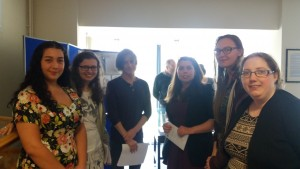 UWTSD students that worked with the objects from the Cyfarthfa Castle Museums and Art Gallery, at the exhibition in the UWTSD Roderic Bowen Library and Archives.