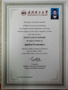Scott has now graduated from Wuhan University with a Masters in Applied Economics. Congratulations, Scott!